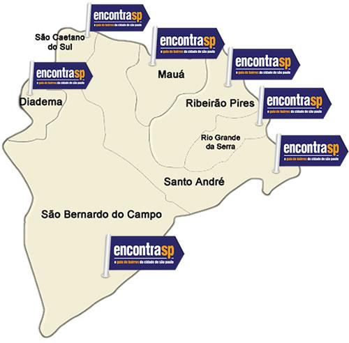 Mapa do Grande ABC