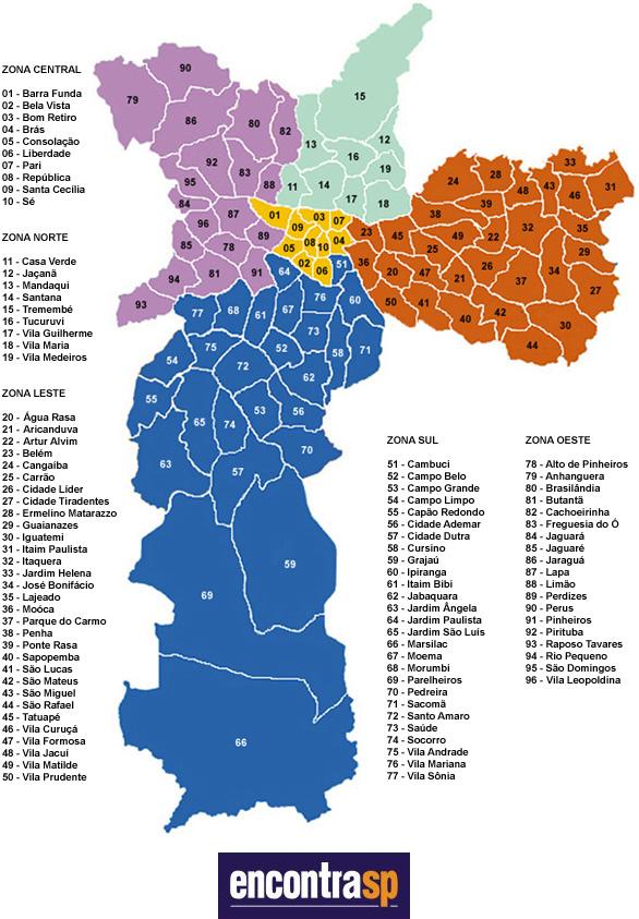 Mapa de Bairros de São Paulo